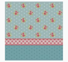 Shabby chic,country chic,collage fabrics,vintage,floral,polka dots,plaid,teal,red,white,mint,red,green Kids Tee