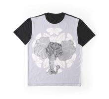 Elephant Bird Hybrid Mandala Blue Graphic T-Shirt