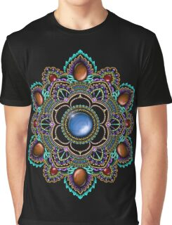 Purple and Teal Mandala with Gemstones Graphic T-Shirt