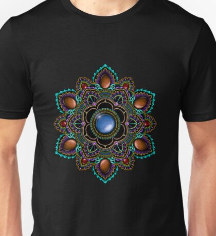 Purple and Teal Mandala with Gemstones Unisex T-Shirt