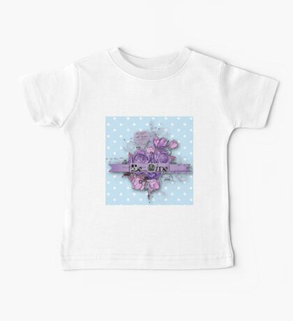 Be nice.vintage,typography,cool text,purple,indigo,shabby chic,baby blue,white,polka dots,modern,trendy Baby Tee
