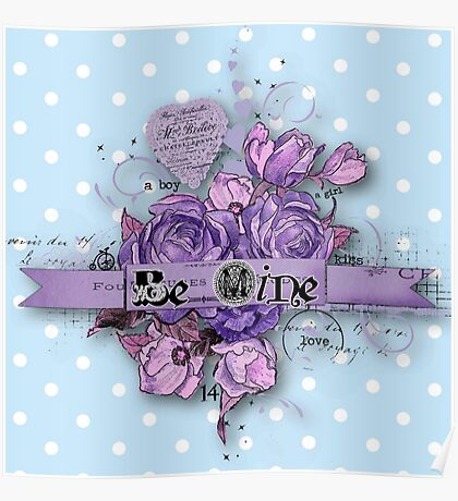 Be nice.vintage,typography,cool text,purple,indigo,shabby chic,baby blue,white,polka dots,modern,trendy Poster