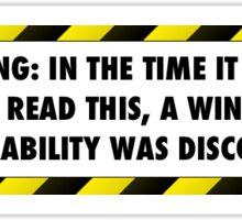 Windows Vulnerability (Small Sticker) Sticker