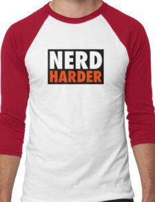 Nerd Harder Men's Baseball ¾ T-Shirt