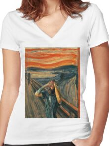 The Scream (Death Grips) Women's Fitted V-Neck T-Shirt