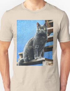 Russian Blue Cat, Acrylic Painting Unisex T-Shirt
