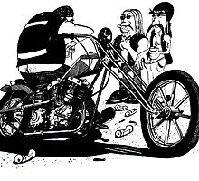 3 Bikers with Chopper by John Menezies