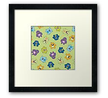 Seamless pattern with cute monsters. Framed Print