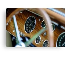 Beautiful retro car. Elegance and style of  first part of XX century. Details view. Canvas Print