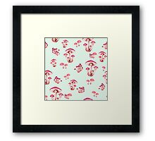 Toadstool Forest Floor in Magenta on Iced Mint Framed Print