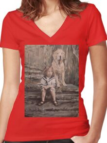 An Old Friend Women's Fitted V-Neck T-Shirt