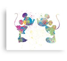 Watercolour Mickey and Minnie  Metal Print