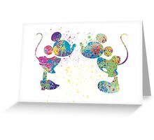 Watercolour Mickey and Minnie  Greeting Card