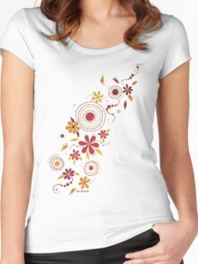 GARDEN PARTY YELLOW & RED  Women's Fitted Scoop T-Shirt