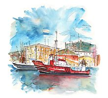 Red Boat In Cartagena Harbour Photographic Print