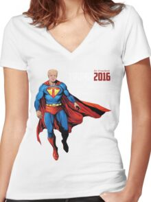 Donald J. Super Trump Presidential Election 2016 Funny Political Women's Fitted V-Neck T-Shirt