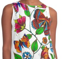 Butterflies and Flowers Contrast Tank