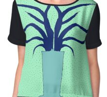 Aloe vera illustration in green and blue Chiffon Top