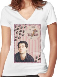 My Teenwolfed Valentine [I Will Be Your Batman] Women's Fitted V-Neck T-Shirt