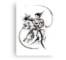 Aikido Martial Arts Large Poster Samurai Warrior Black and White Canvas Print