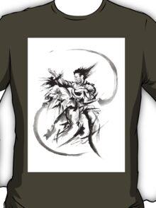Aikido Martial Arts Large Poster Samurai Warrior Black and White T-Shirt