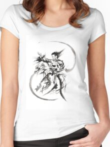 Aikido Martial Arts Large Poster Samurai Warrior Black and White Women's Fitted Scoop T-Shirt