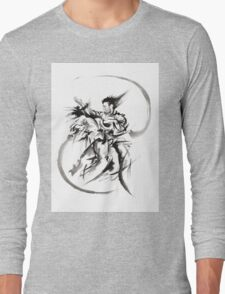 Aikido Martial Arts Large Poster Samurai Warrior Black and White Long Sleeve T-Shirt