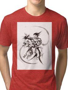 Aikido Martial Arts Large Poster Samurai Warrior Black and White Tri-blend T-Shirt