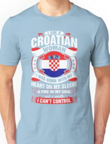 I Am A Croatian Woman Heart Sleeve Fire In Soul T-Shirt