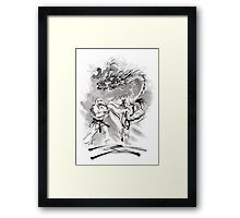 Karate kyokushinkai whit dragon poster Framed Print