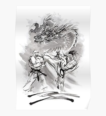 Karate kyokushinkai whit dragon poster Poster