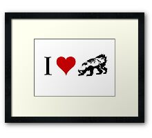 I Love Honey Badger (small) Framed Print