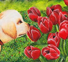 Puppy & Tulips by Annalise Butler