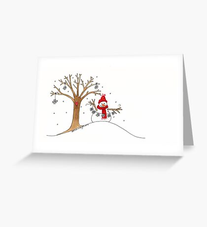 Snow Time For Gathering Snowflakes Like Christmas Greeting Card