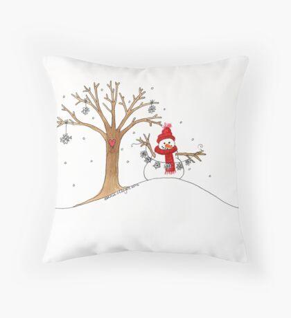 Snow Time For Gathering Snowflakes Like Christmas Throw Pillow
