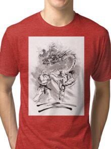 Karate kyokushinkai whit dragon poster Tri-blend T-Shirt