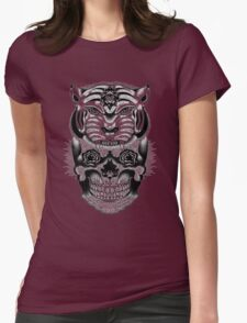 Skull and tiger Womens Fitted T-Shirt