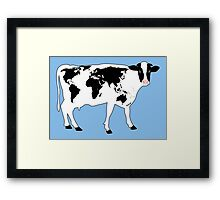 Map of the World Cow Framed Print