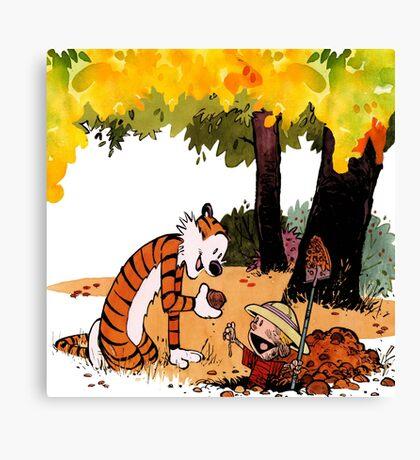 Calvin and Hobbes Treasure Hunter Canvas Print