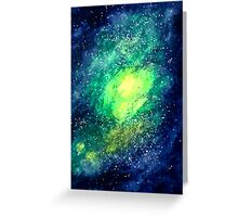 Pixel Green Nebula Greeting Card