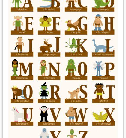 Mythical Creatures Alphabet Sticker
