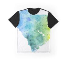 Watercolor Map of South Carolina, USA in Blue and Green - Giclee Print of My Own Watercolor Painting Graphic T-Shirt