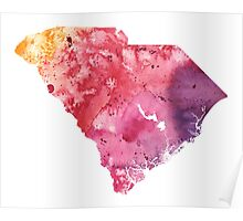 Watercolor Map of South Carolina, USA in Orange, Red and Purple - Giclee Print of my Own Painting Poster