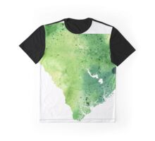 Watercolor Map of South Carolina, USA in Green - Giclee Print My Own Watercolor Painting Graphic T-Shirt