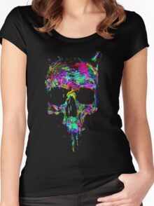Melting Rainbow Skull Women's Fitted Scoop T-Shirt