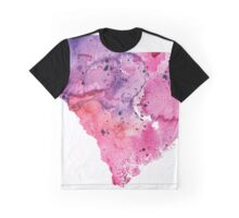 Watercolor Map of South Carolina,USA in Pink and Purple - Giclee Print of My Own Watercolor Painting Graphic T-Shirt