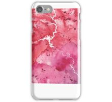 Watercolor Map of South Dakota, USA in Orange, Red and Purple - Giclee Print of my Own Painting iPhone Case/Skin