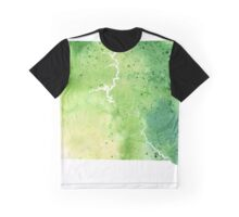 Watercolor Map of South Dakota, USA in Green - Giclee Print My Own Watercolor Painting Graphic T-Shirt