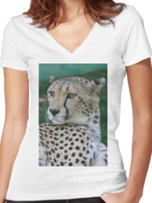 leopard at the zoo Women's Fitted V-Neck T-Shirt