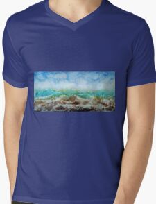 Original Contemporary Encaustic painting on Gallery profile canvas, ocean storm sea waves stormy blue nautical artwork Mens V-Neck T-Shirt